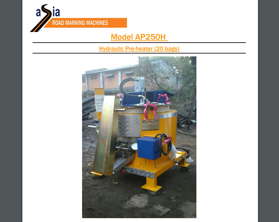 Technical specification AP250H Hydraulic pre-heater